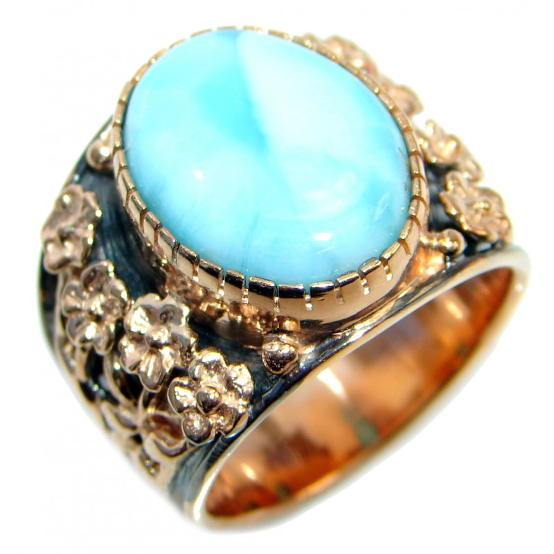 Blue Larimar Gold Rhodium plated over Sterling Silver Ring s. 8