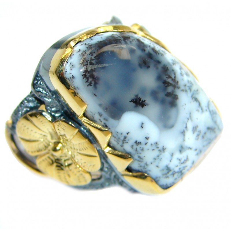 Snow Queen Dendritic Agate Gold Rhodium Plated over Sterling Silver Ring s. 6
