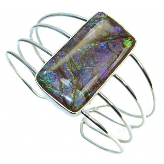 Jumbo One in the World Natural Green Ammolite Sterling Silver Bracelet / Cuff