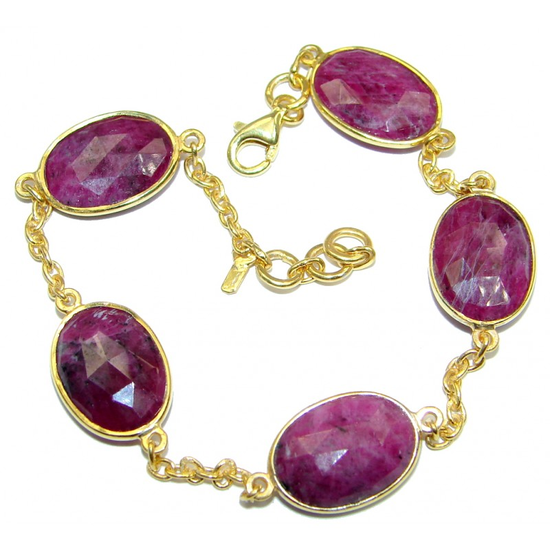 Flawless Passion Red Ruby Gold Rhodium plated over Sterling Silver Bracelet