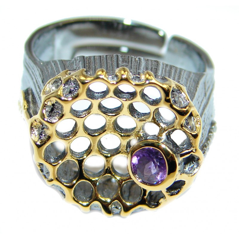 Amazing Created Amethyst Gold plated over .925 Sterling Silver Ring size 7 adjustable