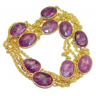 36 inches Genuine Ruby Stones Gold plated over Sterling Silver handcrafted Necklace