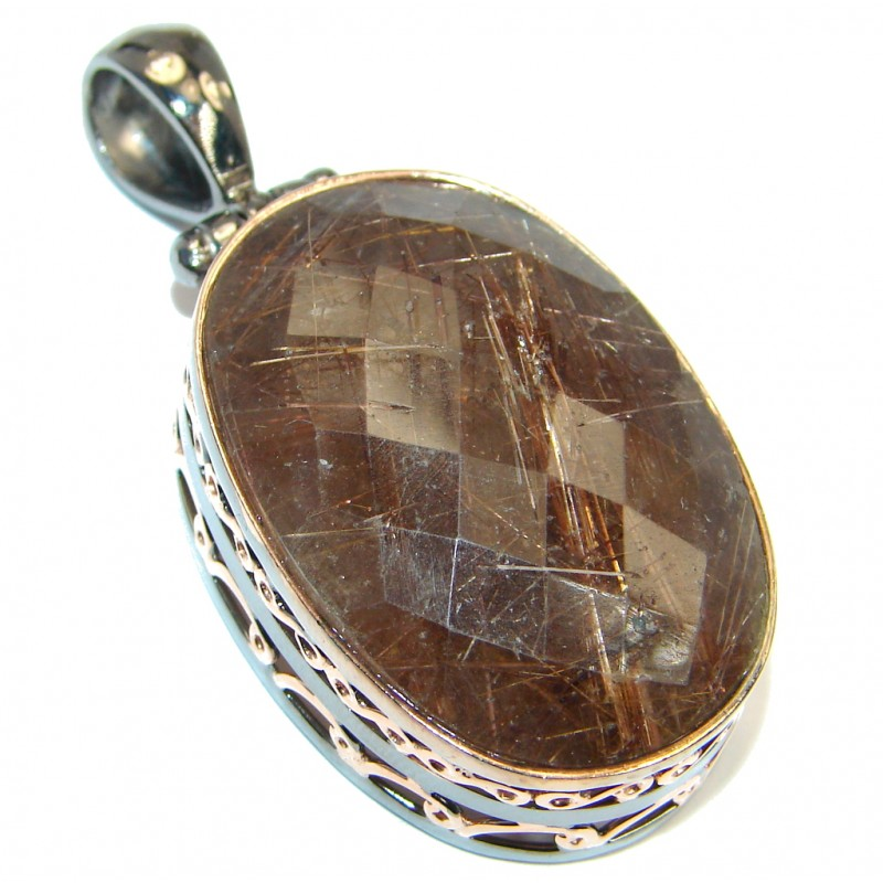 Natural Tourmalinated Quartz Rose Gold plated over .925 Sterling Silver handmade Pendant