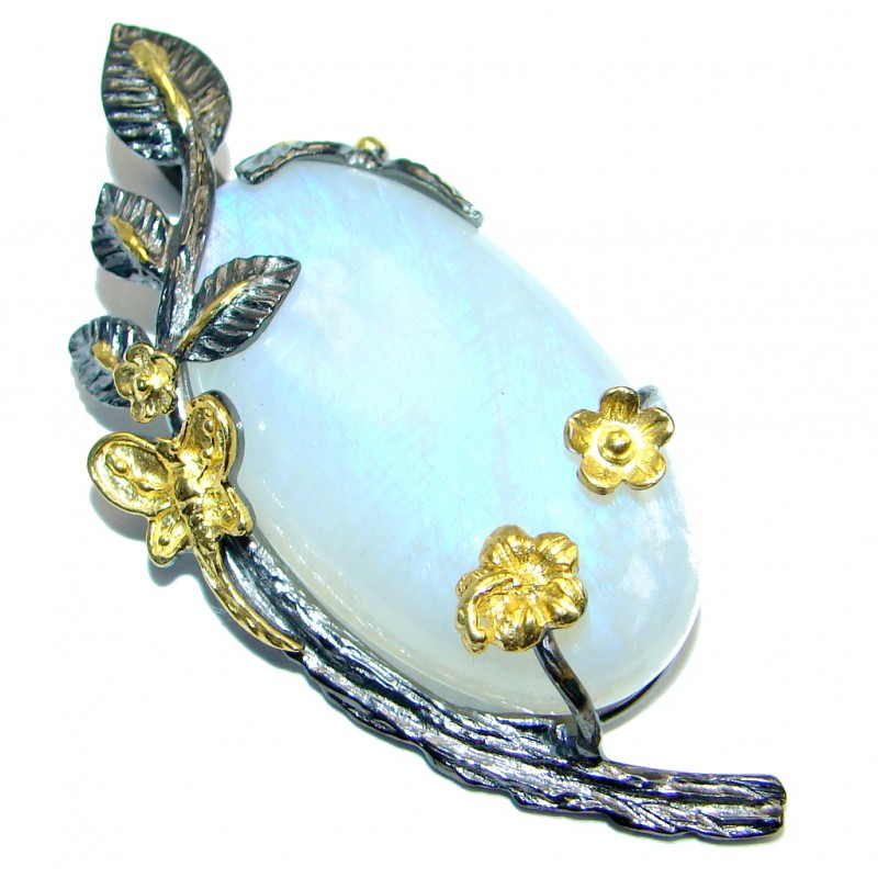 Floral Design Fire Moonstone Gold plated over Sterling Silver handmade Pendant