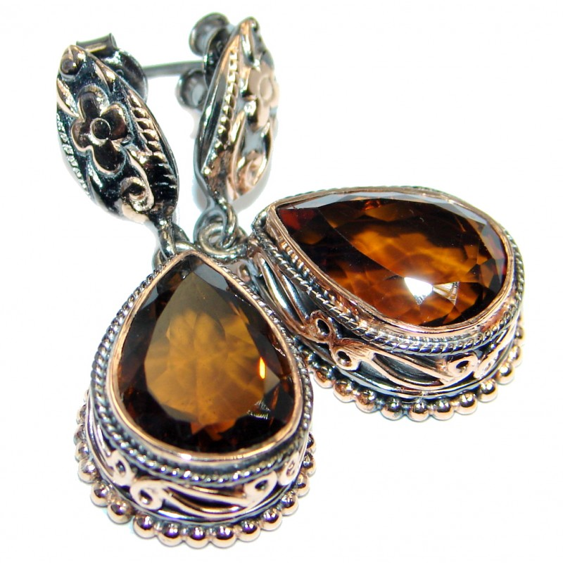 Vintage Style Smoky Topaz Gold plated over .925 Sterling Silver handmade earrings