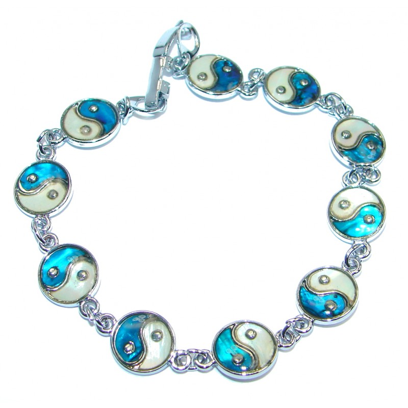 Beautiful Blue Glass Silver Tone Bracelet