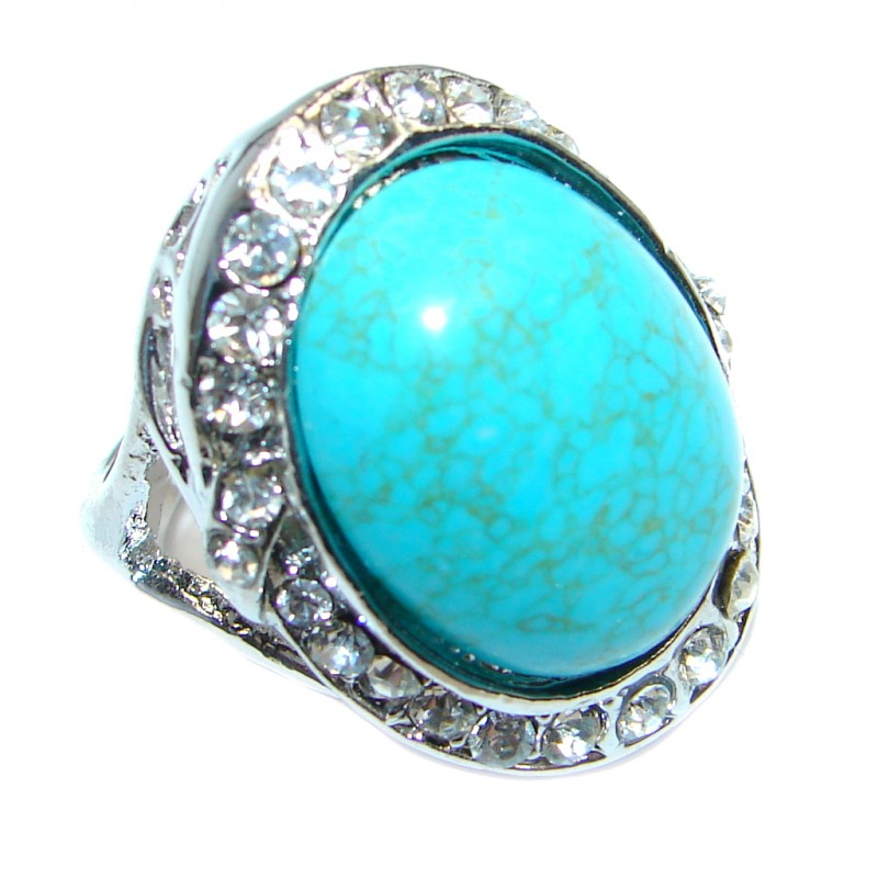 Great created Turquoise Silver Tone ring s. 5 3/4
