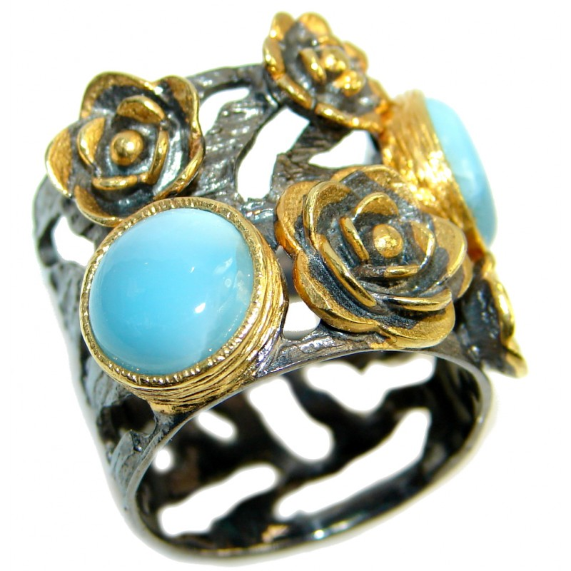 Floral Design Larimar Gold Rhodium plated over Sterling Silver Ring s. 7 3/4