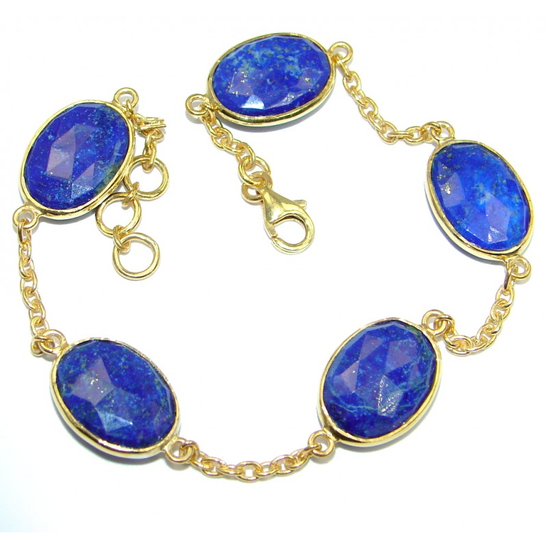 Flawless Passion Lapis Lazuli Gold Rhodium plated over Sterling Silver Bracelet