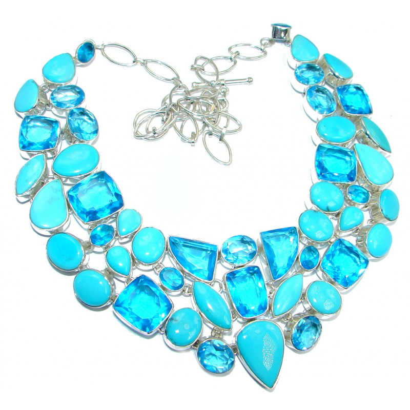 Jumbo Aura Of Beauty natural Sleeping Beauty Turquoise Sterling Silver handmade Necklace
