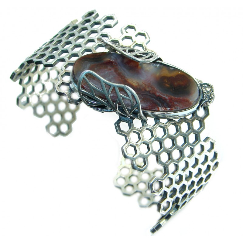 Excellent Brown Montana Agate Sterling Silver handmade Bracelet