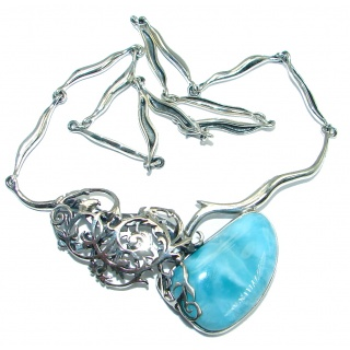 One of the kind Nature inspired Sublime Larimar Sterling Silver handmade necklace