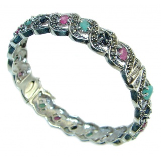 Glorious Natural Ruby Emerald 925 Sterling Silver Bangle bracelet