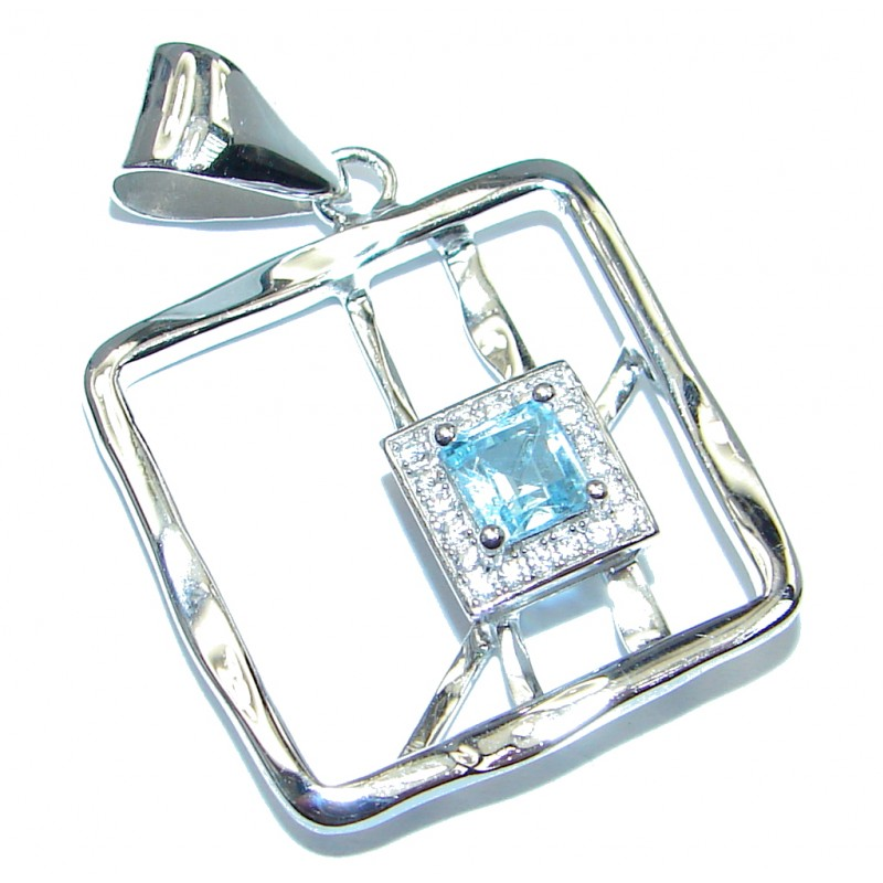 Authentic Blue Topaz Sterling Silver handmade Pendant
