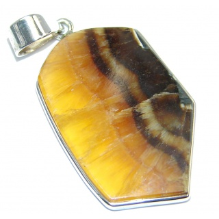 Natural color Honey Onyx Sterling Silver handmade Pendant