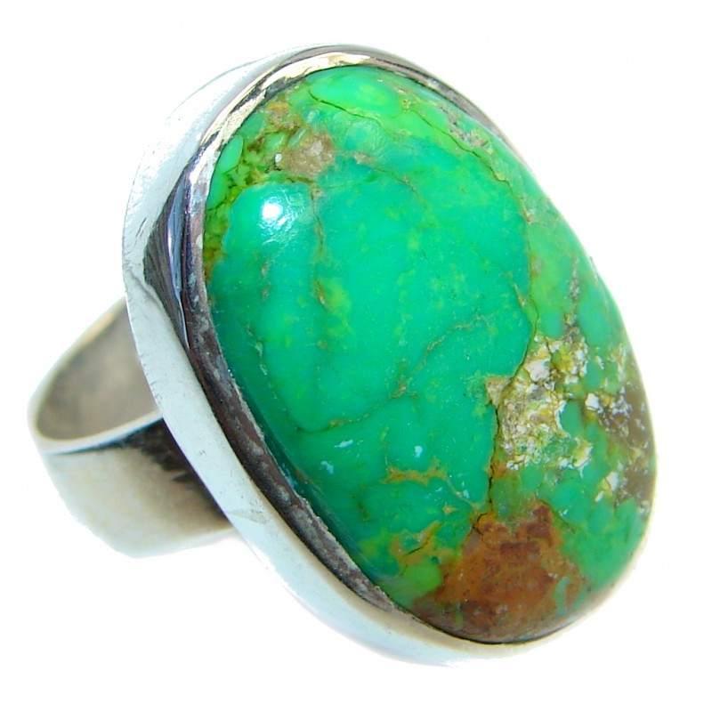 Huge Green Turquoise Sterling Silver Ring size 6 1/4
