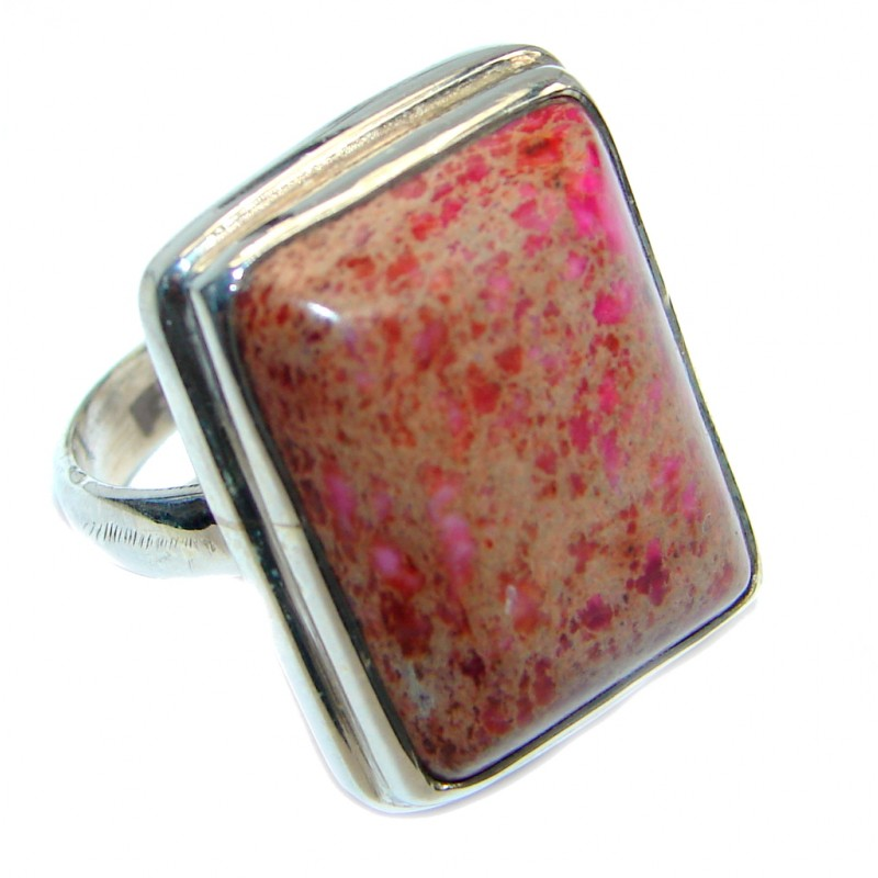Sea Sediment Jasper handmade Sterling Silver ring size 6 3/4