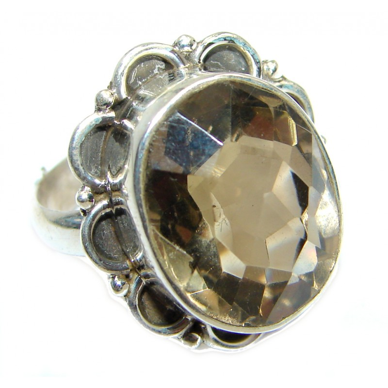 Bold Champagne Smoky Topaz Gold plated Sterling Silver Ring size 7