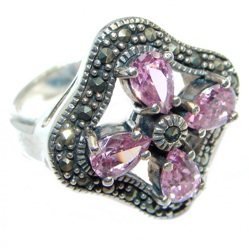 Great Pink Topaz Marcasite Shell Sterling Silver Ring s. 7