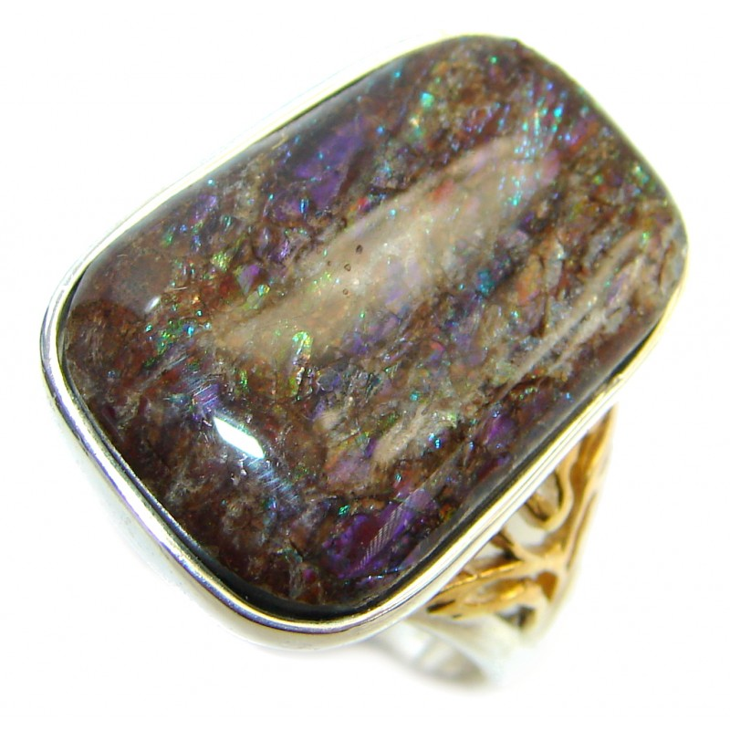 Twilight Zone Fire Genuine Canadian Ammolite Gold plated over .925 Sterling Silver handmade ring size 7 1/2