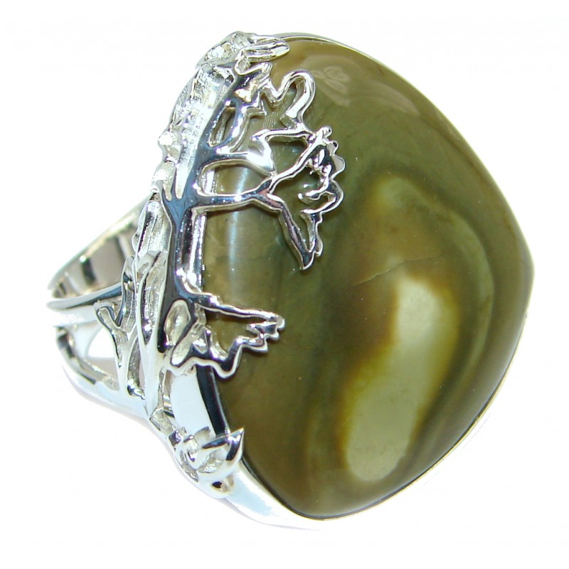 Genuine Imperial Jasper Sterling Silver handcrafted ring s. 7 adjustable