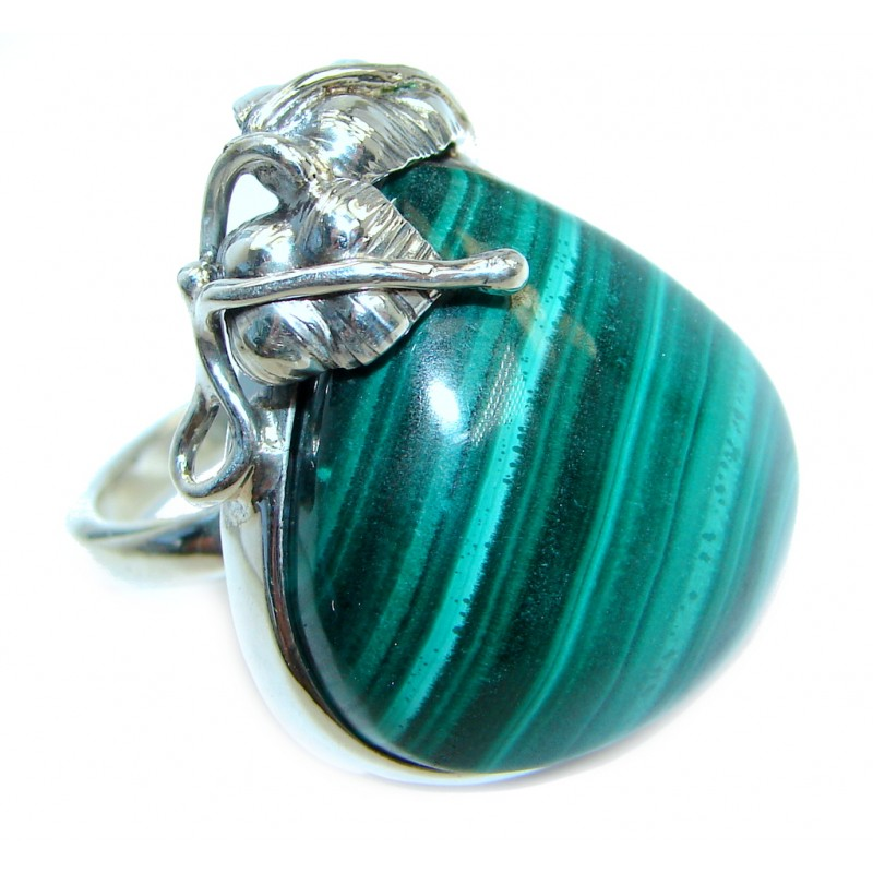 Natural AAA quality Malachite Sterling Silver handcrafted ring size 7 adjustable