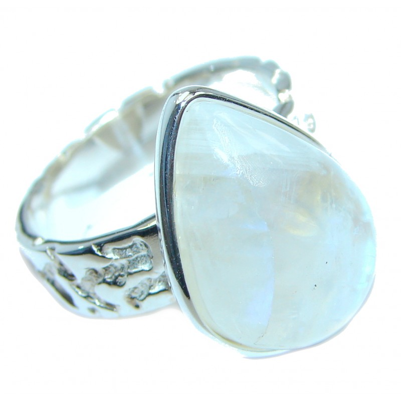 Fire Moonstone Oxidized Sterling Silver handmade ring size 7 3/4
