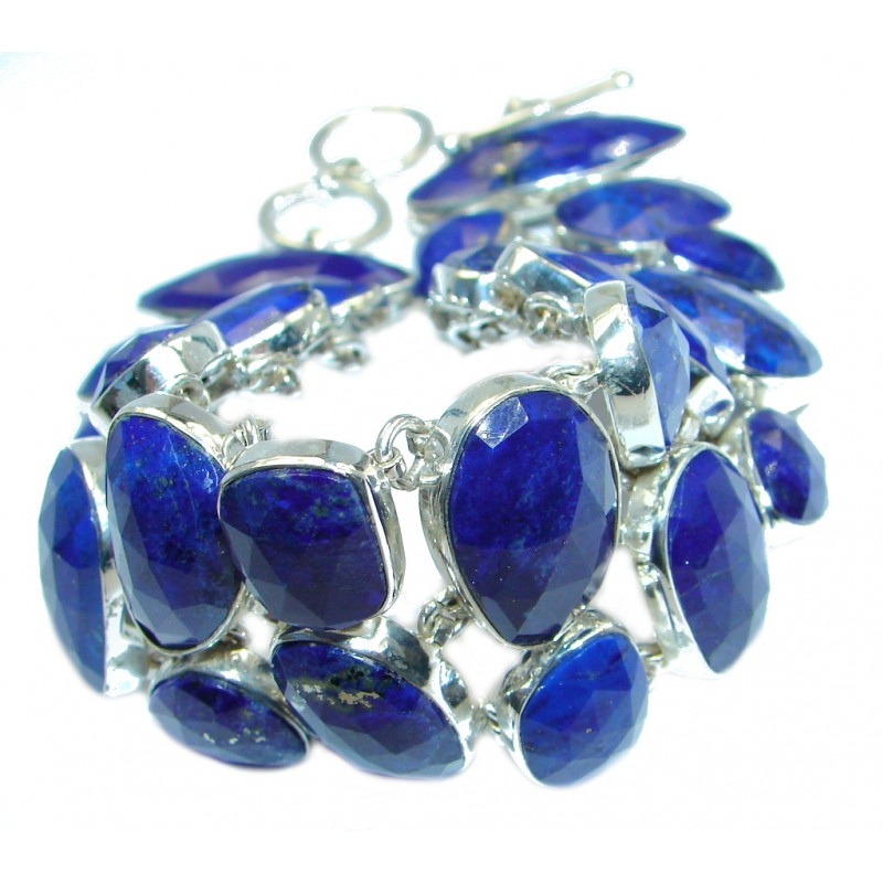 Chic Blue Waves Lapis Lazuli Sterling Silver handcrafted Bracelet