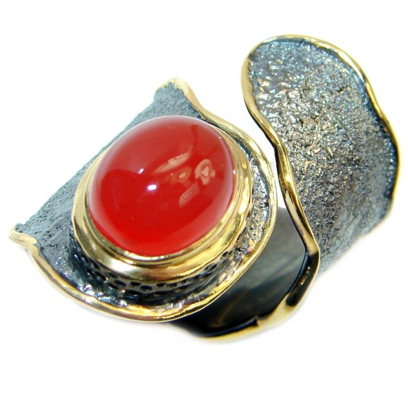 Genuine Orange Carnelian Gold Rhodium plated over Sterling Silver ring s. 7 adjustable