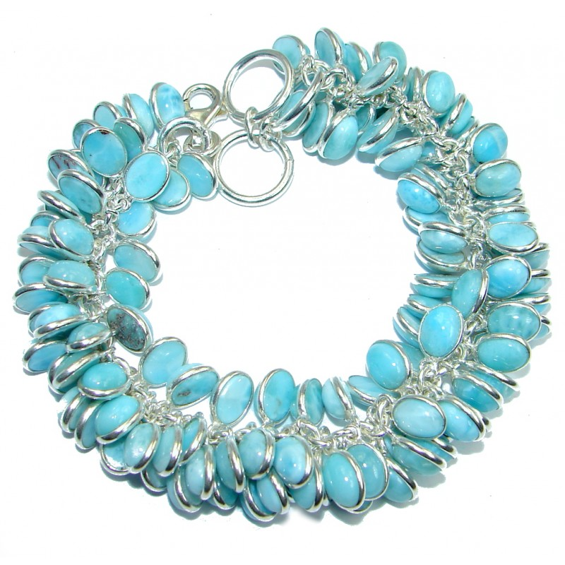 Blue Tears natural Authentic Larimar Sterling Silver handmade Bracelet
