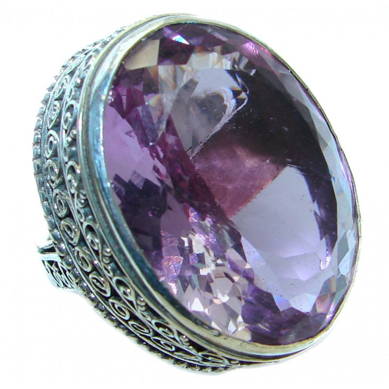 Vintage style Jumbo Unique Style lab. Amethyst Sterling Silver ring; s. 8