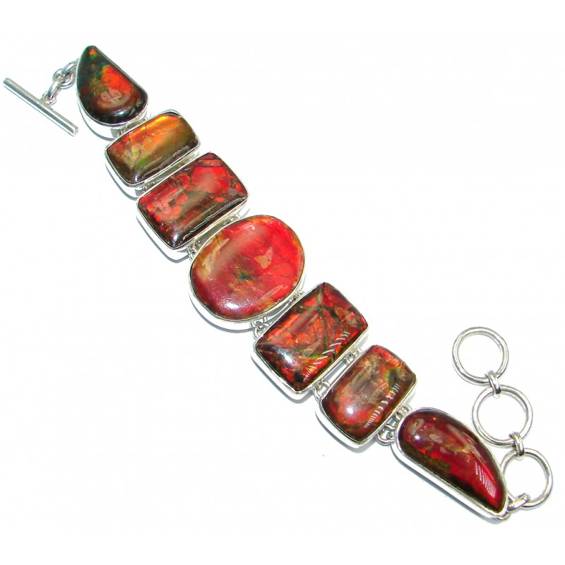 Natural AAA quality Canadian Red and Green Ammolites Sterling Silver handmade Bracelet