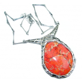 Emily Orange Sea Sediment Jasper oxidized Sterling Silver handmade necklace