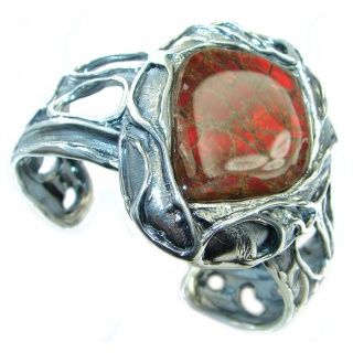 Huge One in the World Natural Red Ammolite .925 Sterling Silver Bracelet / Cuff
