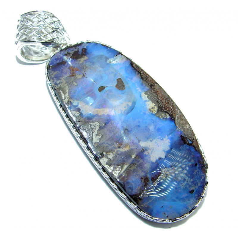 Authentic Natural Australian Boulder Opal Sterling Silver handmade Pendant