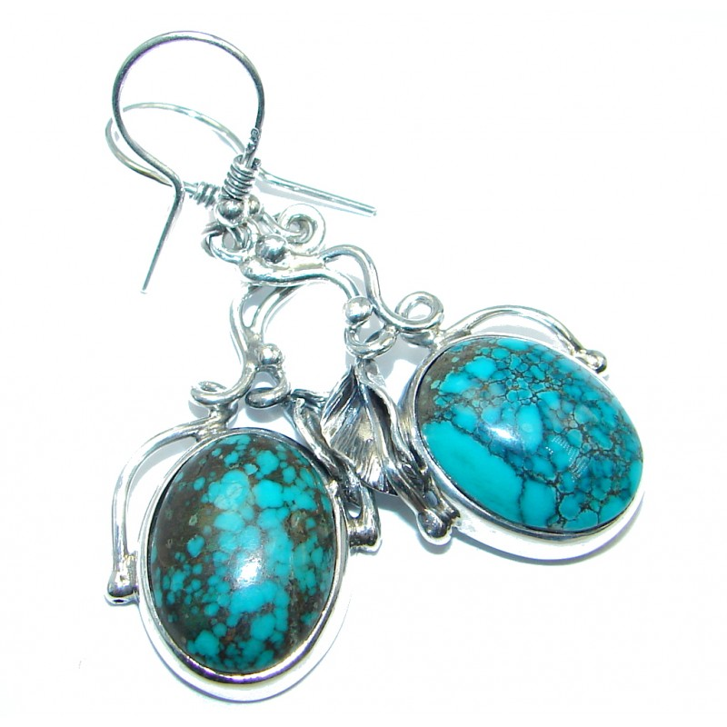 Floral Design Genuine Turquoise oxidized Sterling Silver handmade earrings