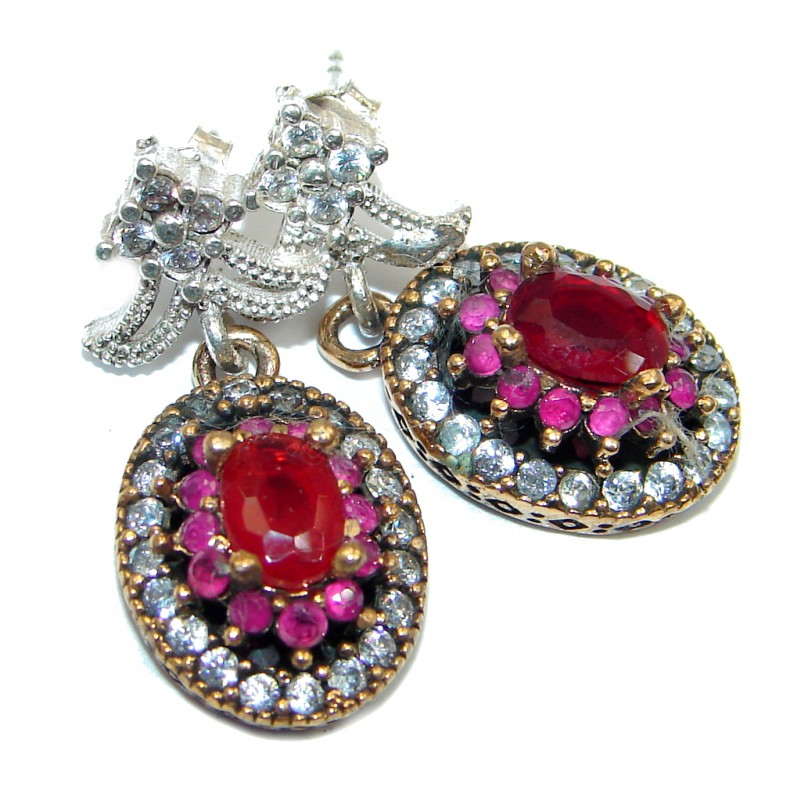 Trendy Ruby Sterling Silver handmade stud earrings
