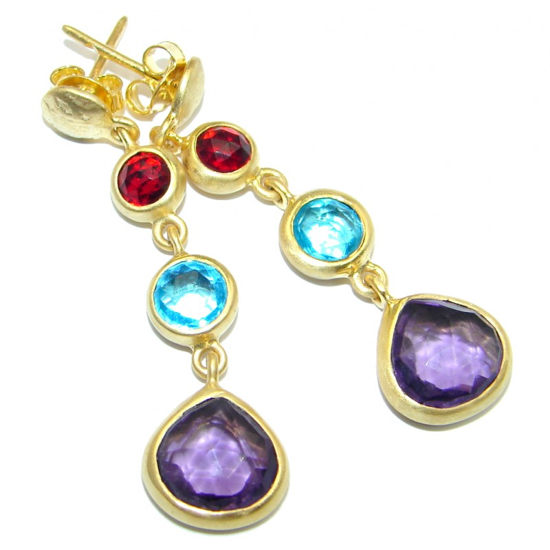 Impressive Tourmaline Gold plated over Sterling Silver handmade earrings