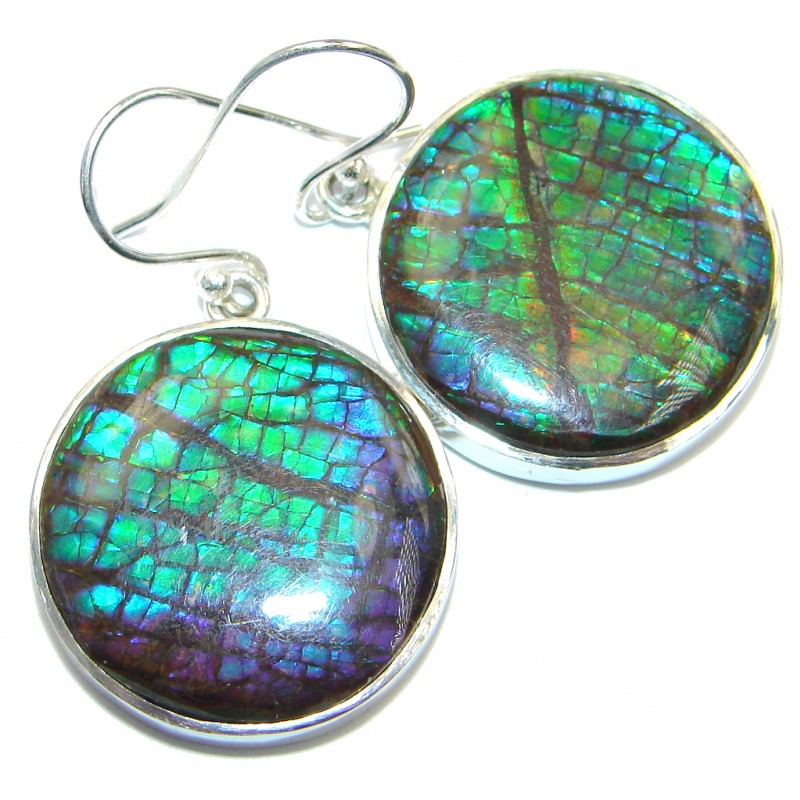 Blue Aura AAA+ Fire Canadian Ammolite Sterling Silver handmade earrings