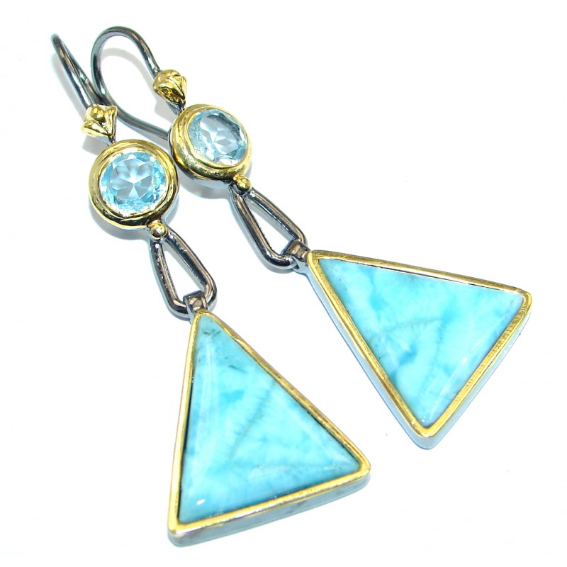 Contemporary Design Blue Larimar Gold Plated Sterling Silver handmade earrings