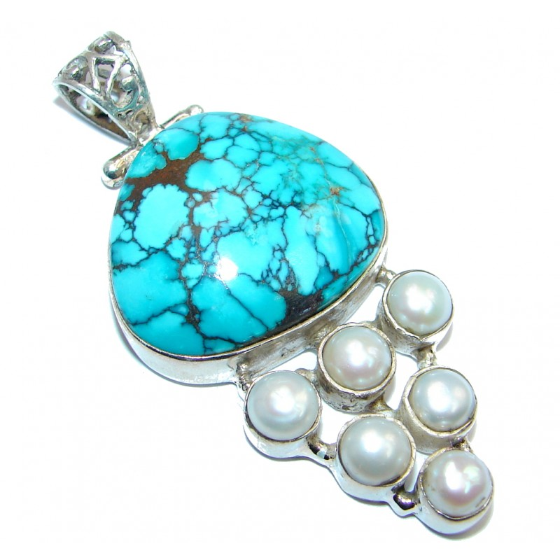 Simple Tourquoise Pearl Sterling Silver handmade Pendant