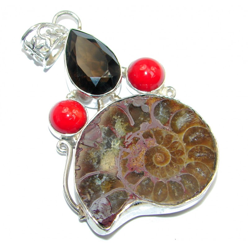 Back to Nature Brown Ammonite Fossil Sterling Silver handmade Pendant