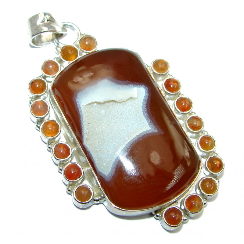 Natural color Druzy Agate Sterling Silver handmade Pendant