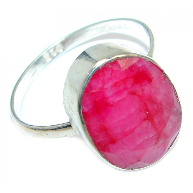 Ruby Sterling Silver ring; s. 9