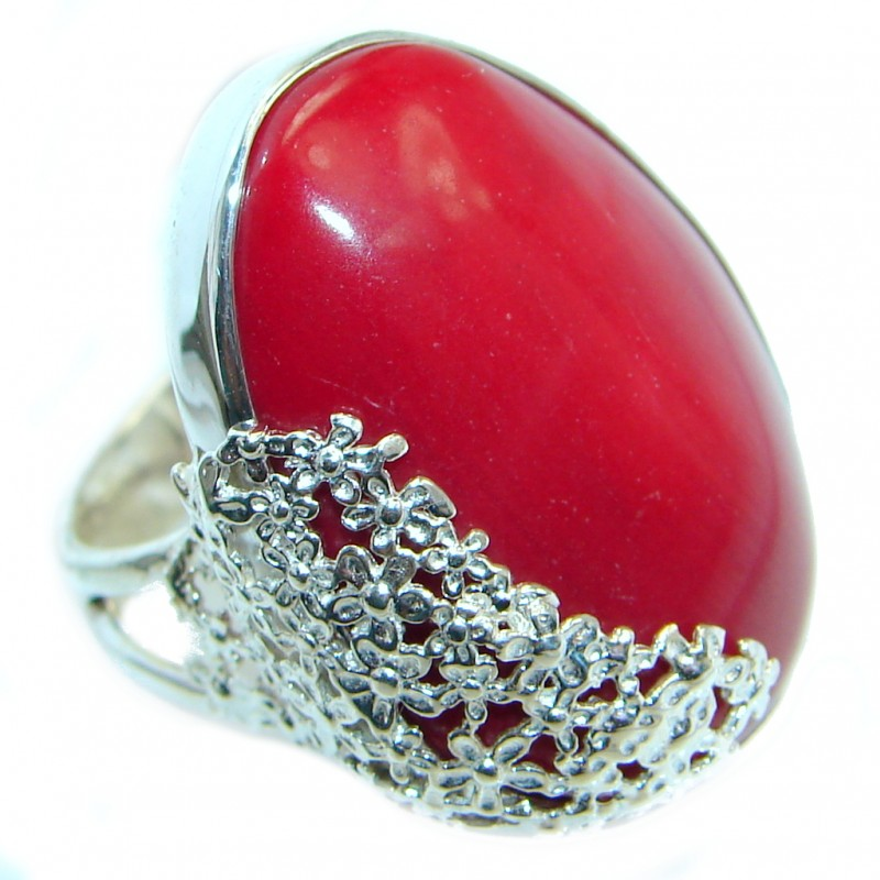 Gorgeous natural Fossilized Coral Sterling Silver handmade ring s. 7 adjustable
