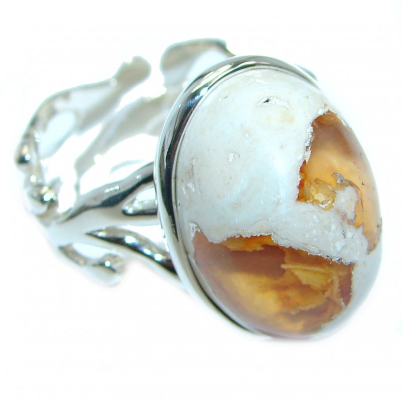 Authentic Mexican Fire Opal Oxidized Sterling Silver handmade Ring size 7 adjustable