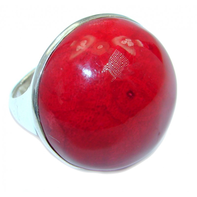 Red Sphere Genuine Coral Sterling Silver handmade Ring size 9
