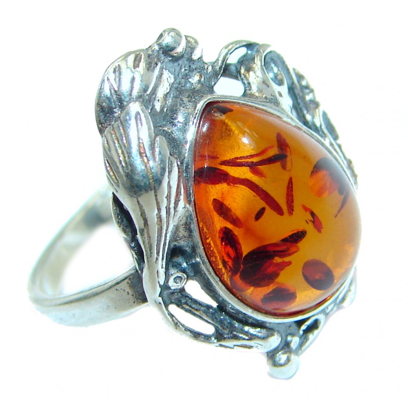 Genuine Baltic Polish Amber Sterling Silver handmade Ring size 5 1/4