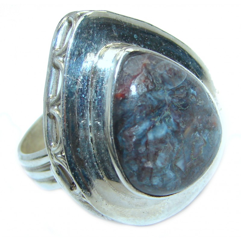 Classy Brown Picasso Jasper Sterling Silver Ring s. 8