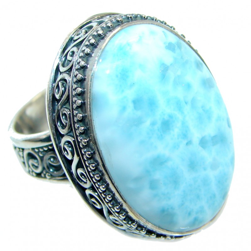 Vintage Design Larimar .925 Sterling Silver handcrafted Ring s. 7 adjustable